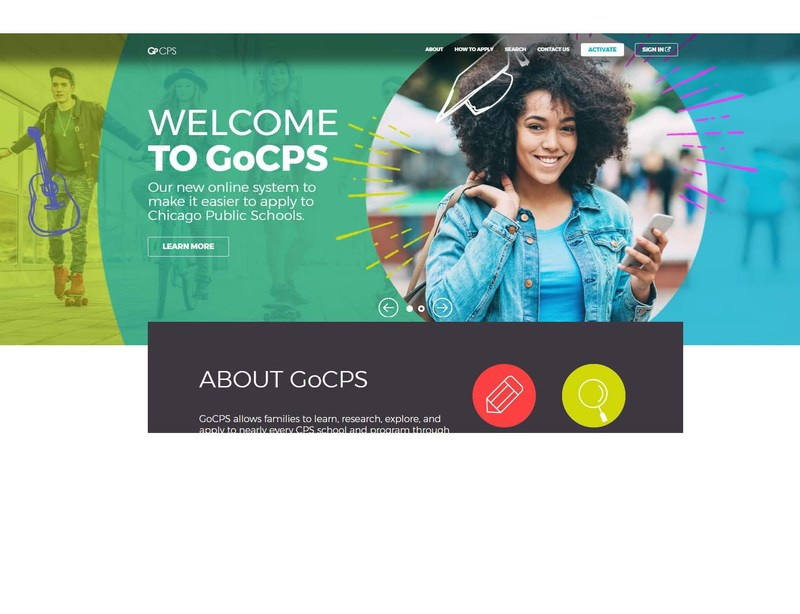 A screen shot of the GoCPS website.