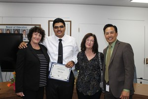 Sierra Vista High School teacher Charlene Fried, left, stands with Ramona Burnham Scholarship recipient Heber Amaya, Ramona Burnham Scholarship Foundation representative Tonya Cuccia and Superintendent Froilan N. Mendoza at Baldwin Park Unified's Joint Scholarship Event on May 4.