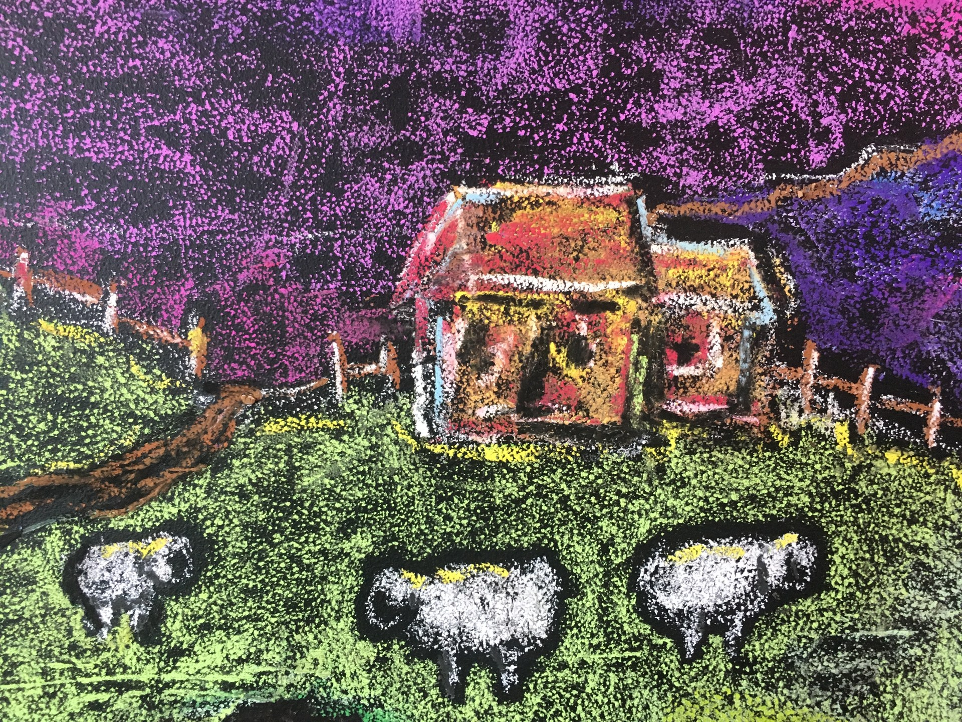 chalk drawing house
