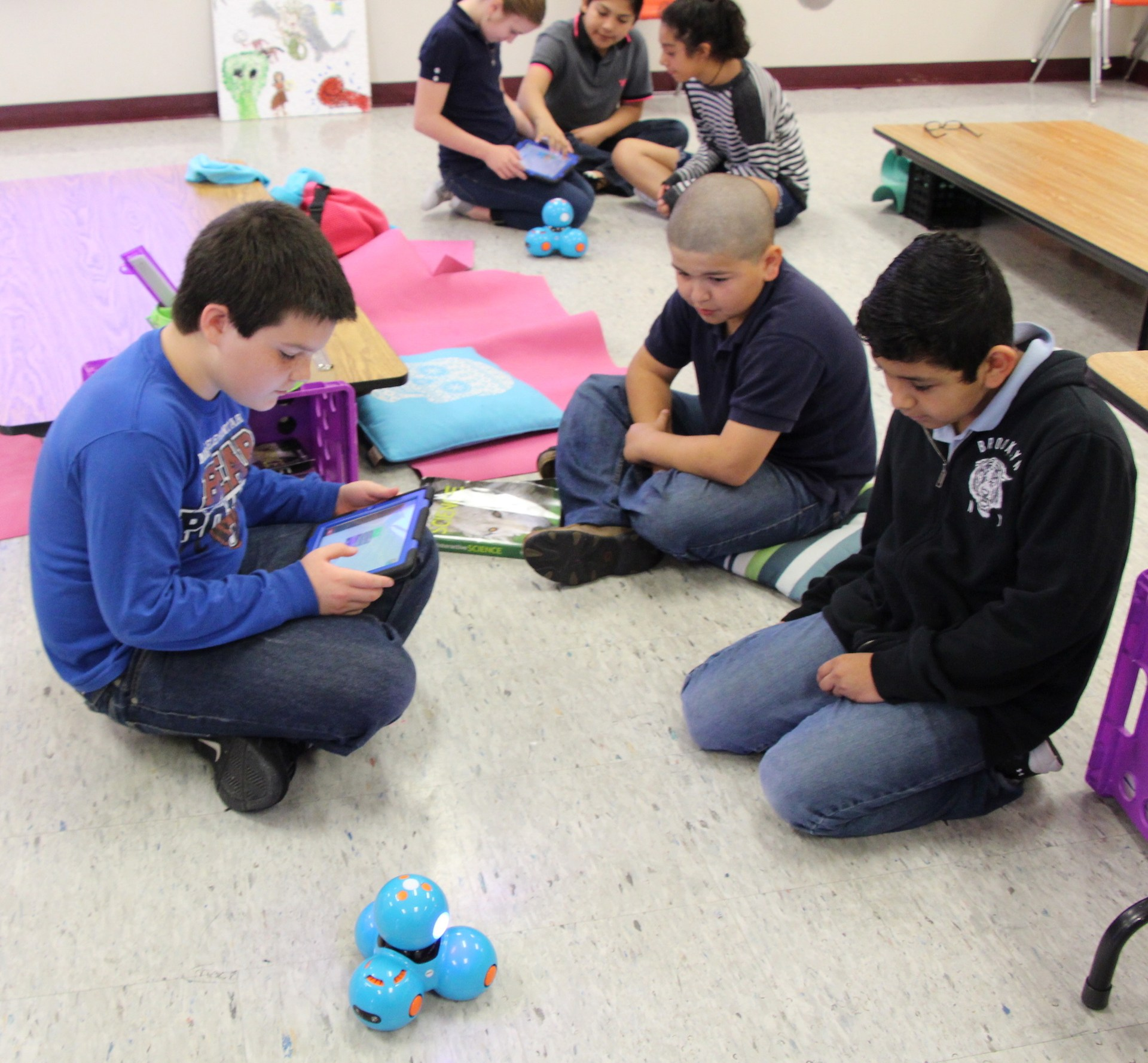 Tannahill Intermediate students learn simple coding with toy robots. Their teacher Kamella Lilly received a grant from the WSISD Education Foundation.