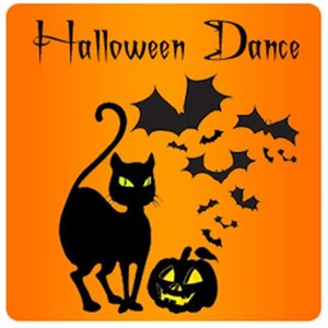 Halloween Dance with black cat, pumpkin, and bats clip art