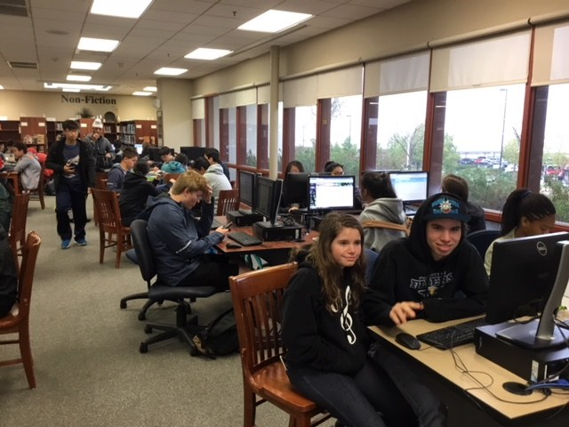 Computers for printing, accessing grades or researching topics, laptops can be checked out