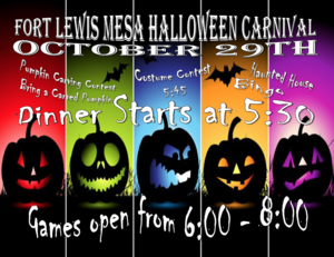 Poster for carnival featuring carved pumpkins.