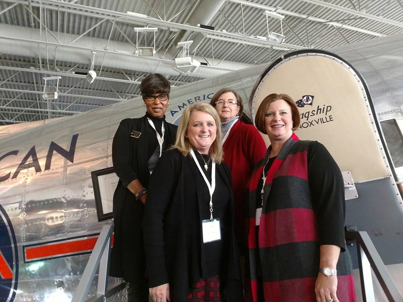 Dr. Sandra McCoy-Jackson, Dr. Diana Freeman, Mrs. Jennie Flaa, and Mrs. Valerie Foster preview an Aeronautics STEM Program