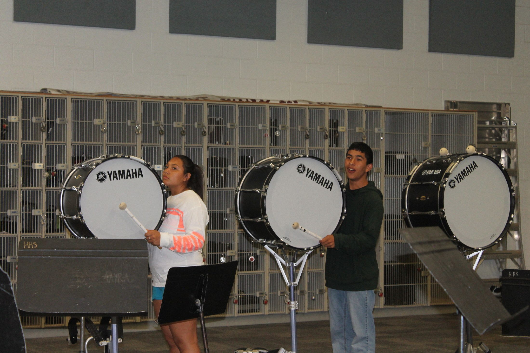 Getting out the large drums