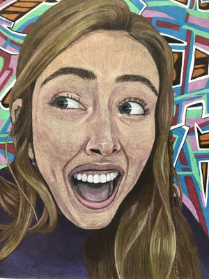 student drawing of an excited face, by Emma S.