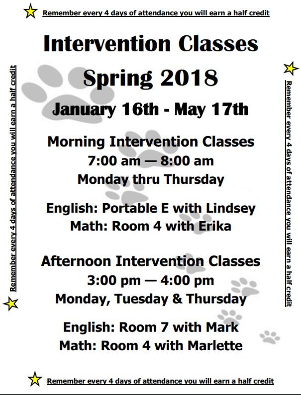 Spring Intervention flyer
