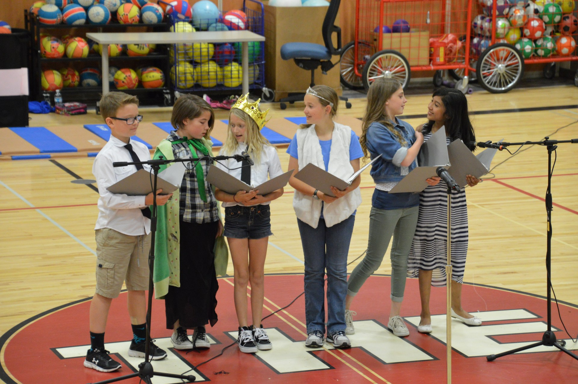 Students performing a reader's theatre skit.