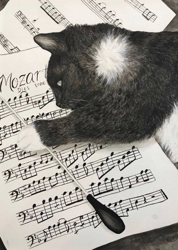 drawing of a cat and music