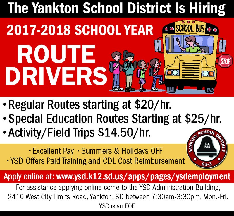 Yankton School District is Hiring Bus Drivers for the 2017-18 School Year Thumbnail Image