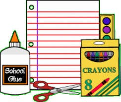 Glue, paper, scissors, crayons, lined paper, paints
