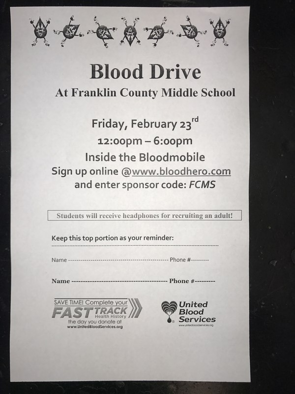 BLOOD DRIVE at Franklin County Middle School Featured Photo
