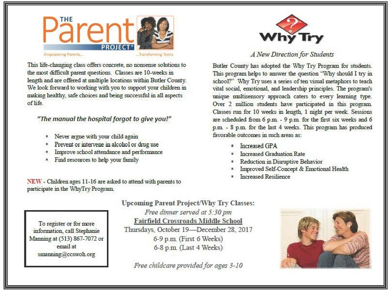 Image of a flyer advertising the parent Project/Why Try Program coming to the FCSD October 19-December 28.