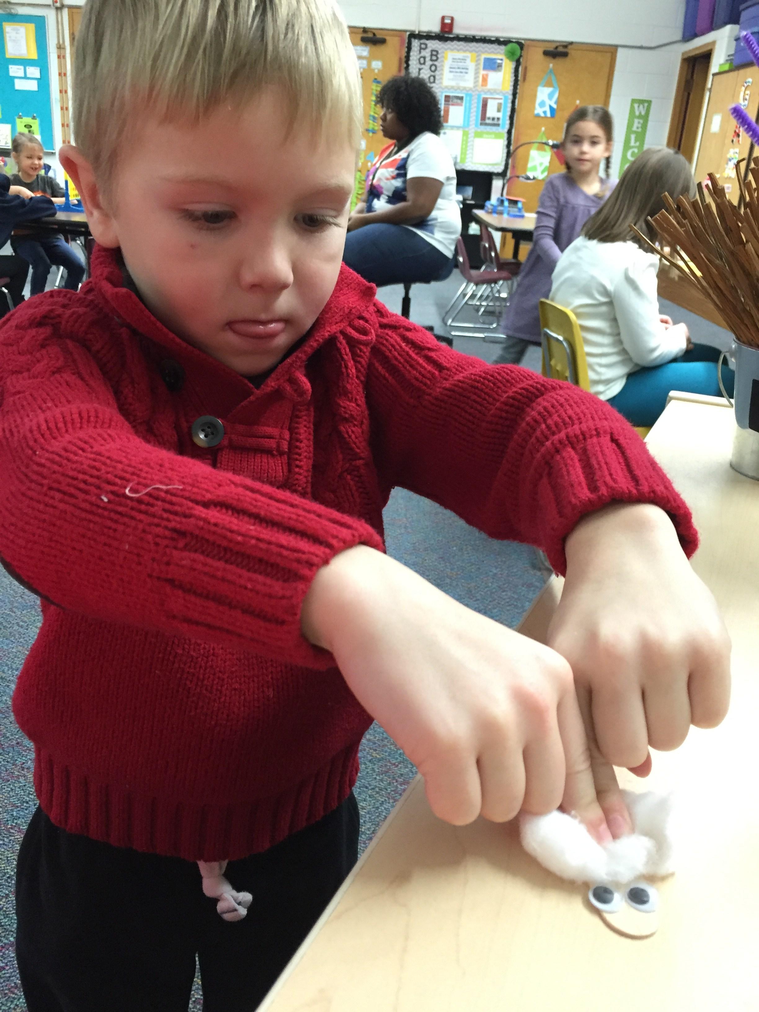 Making a winter craft.