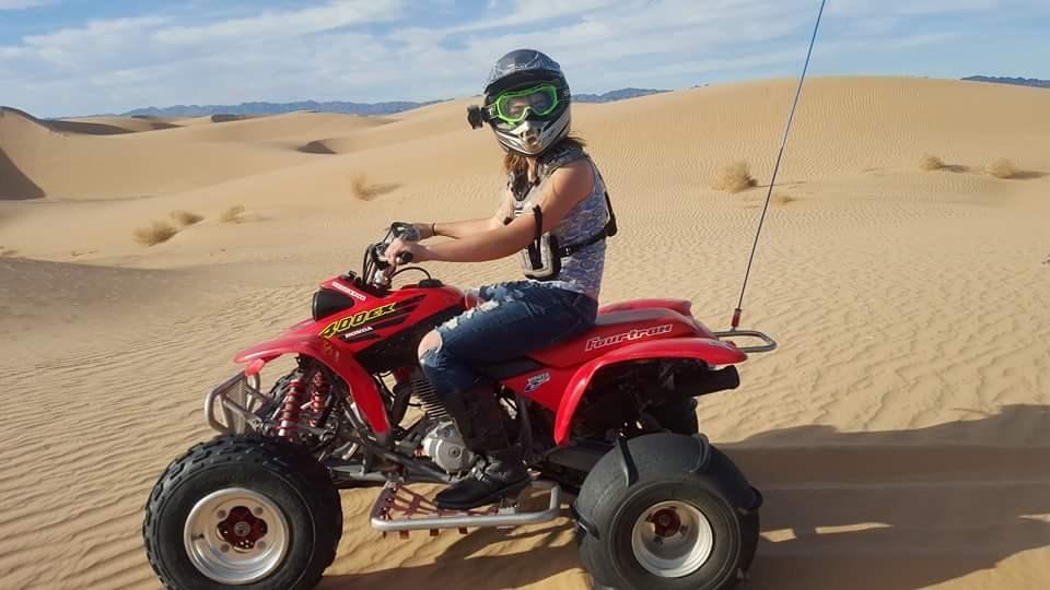 Student riding a quad