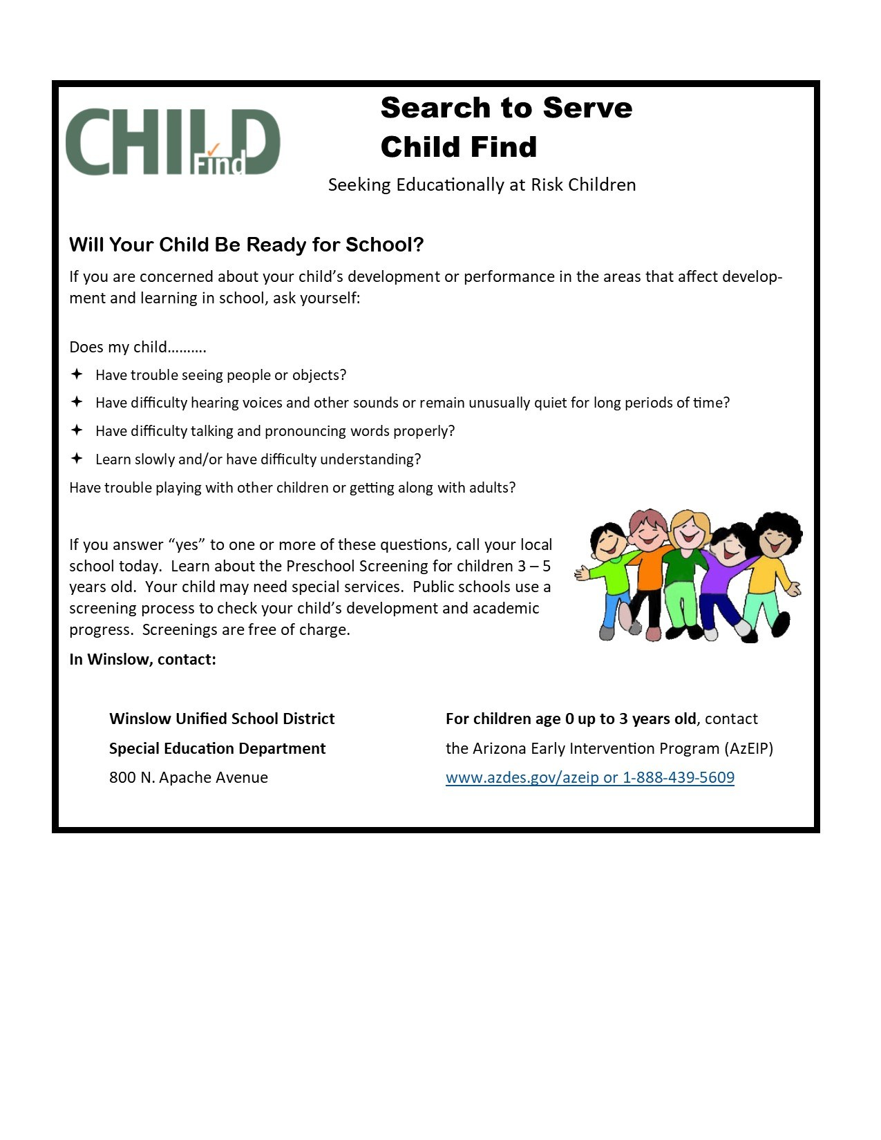 Is Special Education In Trouble >> Child Find Information Special Education Winslow Unified School