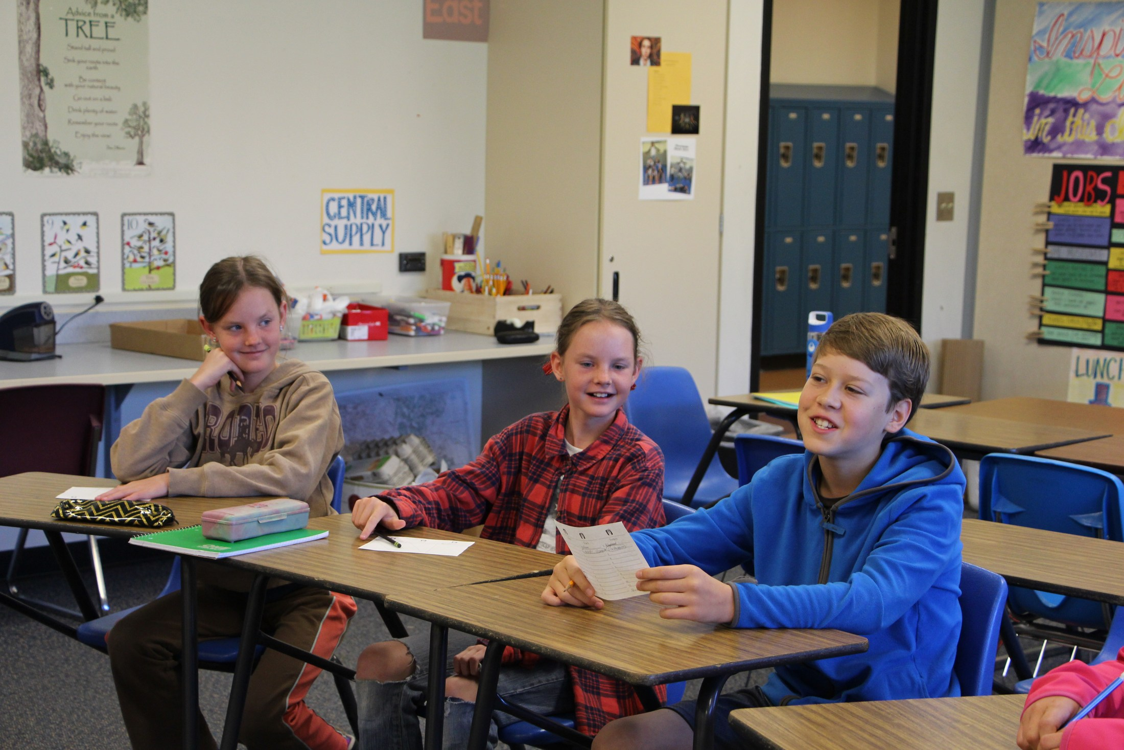 Students participate in a learning game at Shared School.