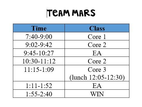 Team Mars Schedule