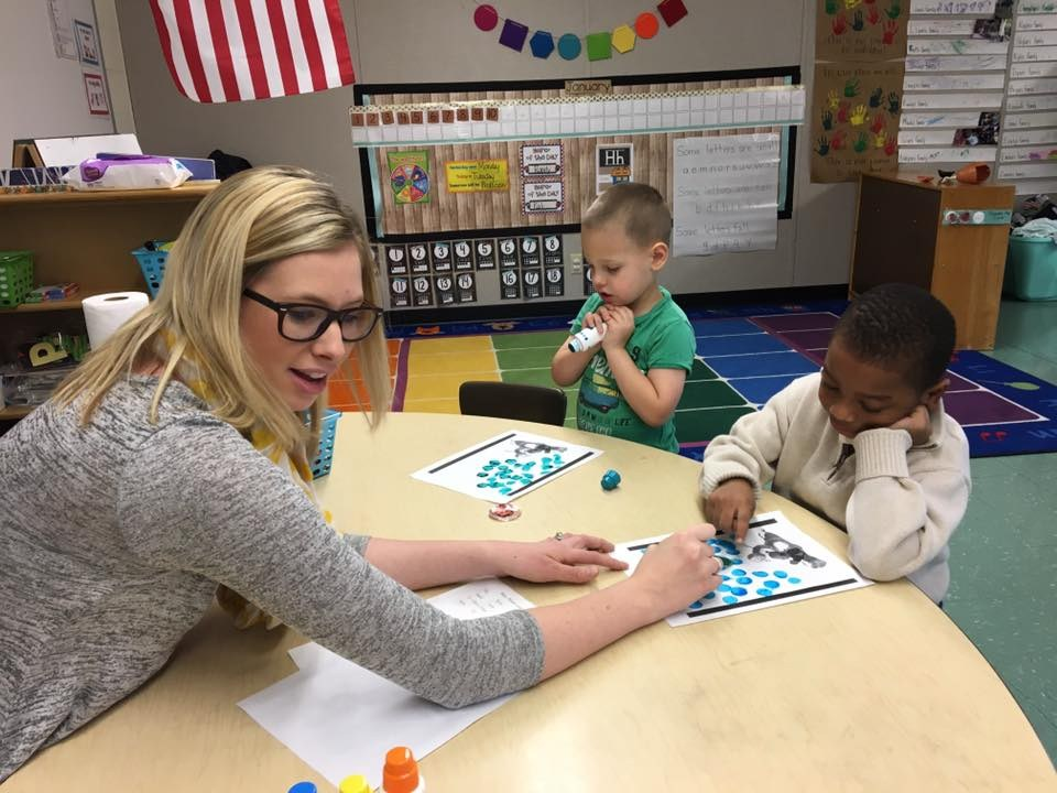 Learning how to count dots at Southview Preschool