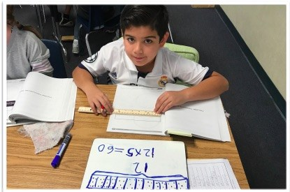 Student working on a math problem.