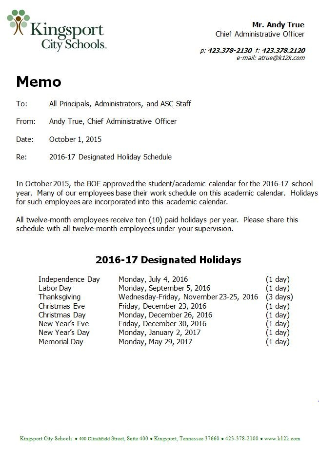 Holiday Schedule 1