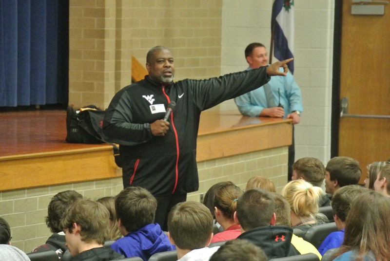 Steve Grant, former WVU football star and Indianapolis Colt LB, speaks with students about making good choices and school success