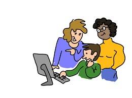 cartoon of teachers looking at computer