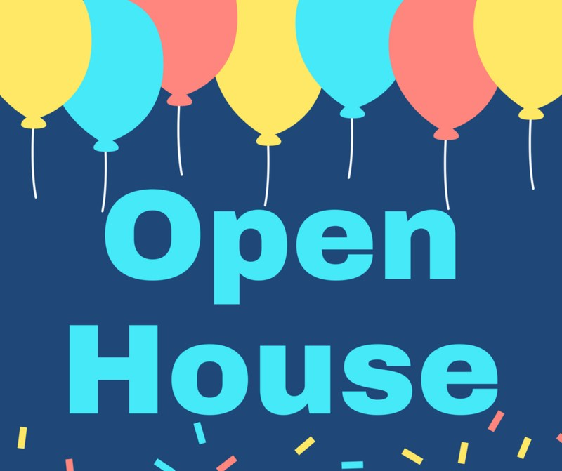 Open House with balloons clipart