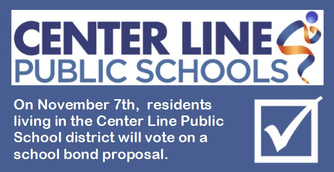 On November 7th,  residents living in the Center Line Public School district will vote on a school bond proposal. CLPS logo and checkmark