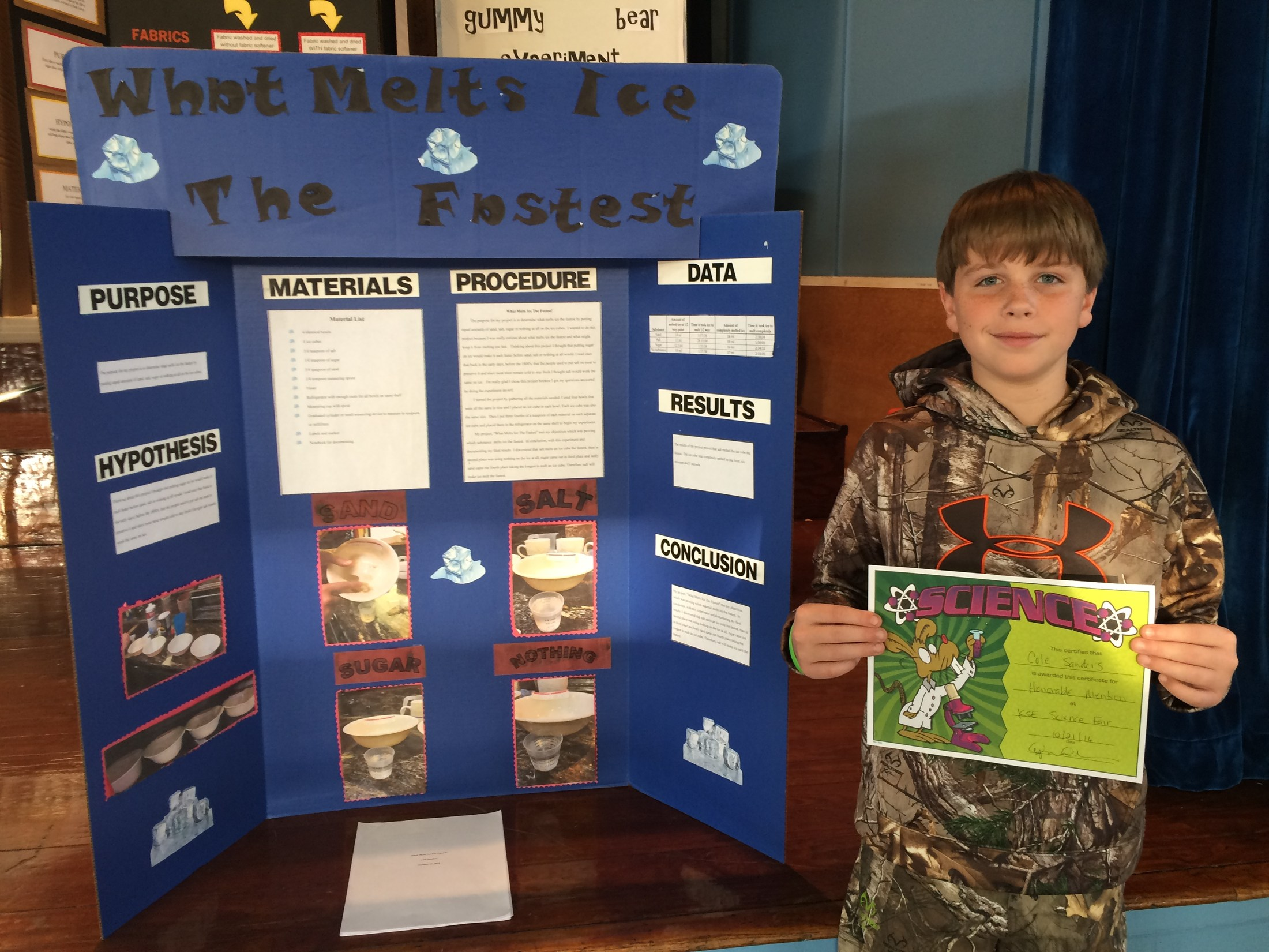 7th Grader Honorable Mentioned in Science Fair