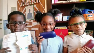 Students with their new glasses