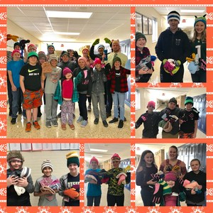 A collage of pictures with teen leadership students holding the hats and gloves they collected.