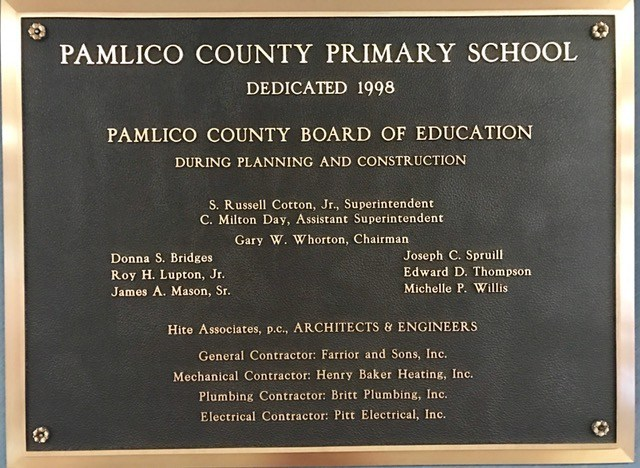 Dedication plaque for PCPS