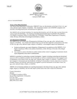 Non-Discrimination Notice from Hawaii's DOE