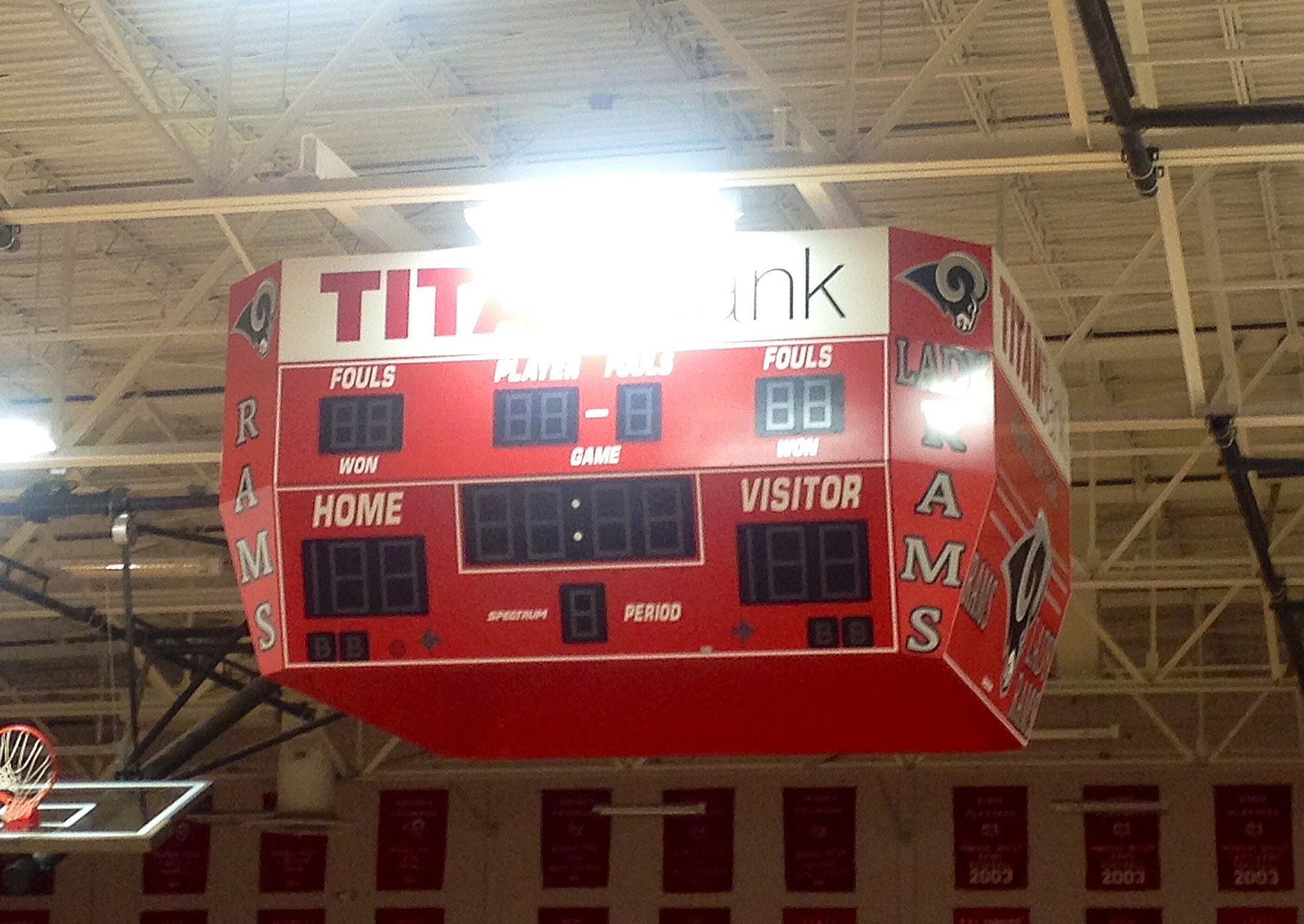 Scoreboard at center court of Main Gym