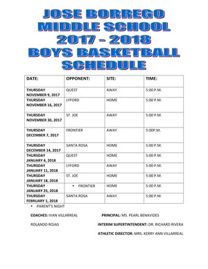 Boys schedule for basketball