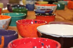 Colorful handmade clay bowls