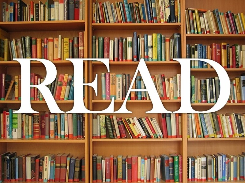 Bookshelves with the word Read.