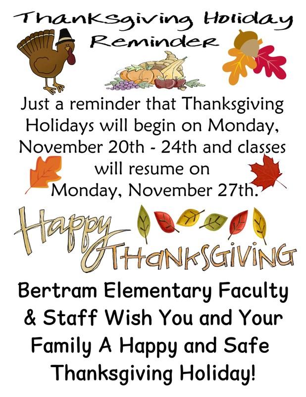 Thanksgiving Holiday Reminder Thumbnail Image