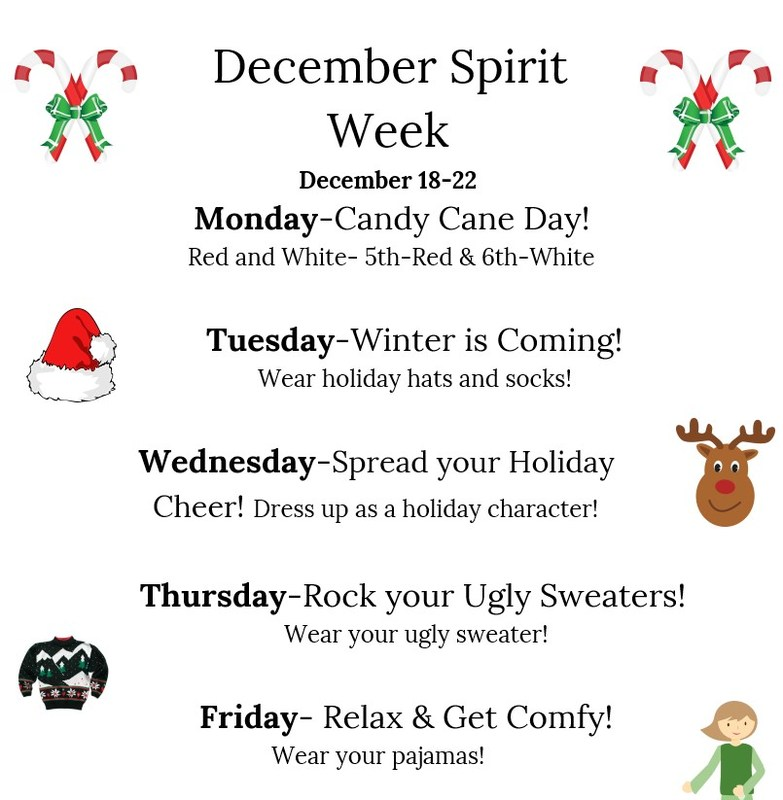 December Spirit Week (12/18/-12/22) Featured Photo