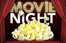 Movie Night text with popcorn