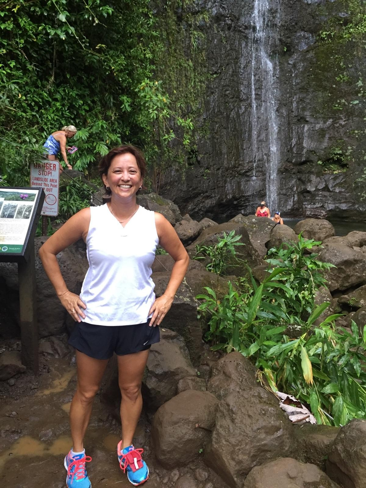 Mrs. Perdomo at Manoa Falls