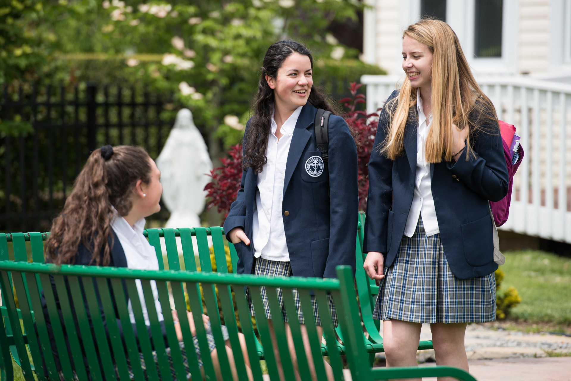 SHA students in courtyard
