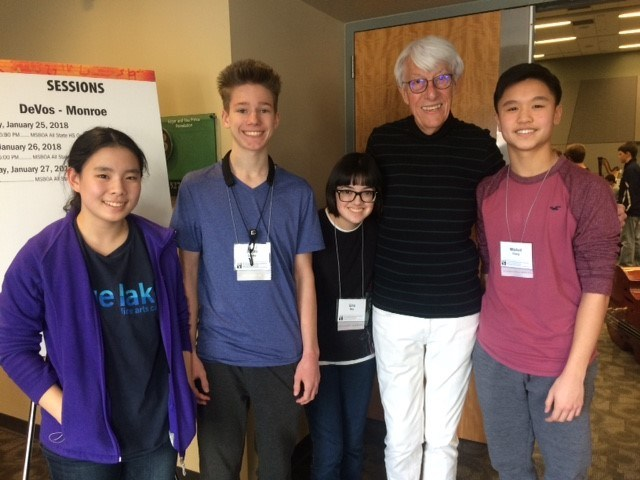 Katherine Zhou, violin; Stefan Lemke, oboe; Gina Moy, percussion; Mitchell Chang, cello were selected as the top performers in the MSBOA All-State Orchestra competition. They are pictured with Larry Livingston, a Michigan native and the current director of orchestras at the University of Southern California Thornton School of Music.