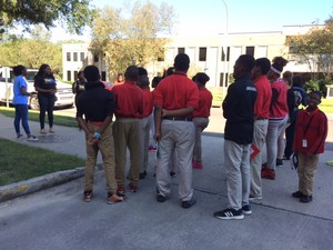 Photo of Baker Middle JAG students visiting Southern University Campus