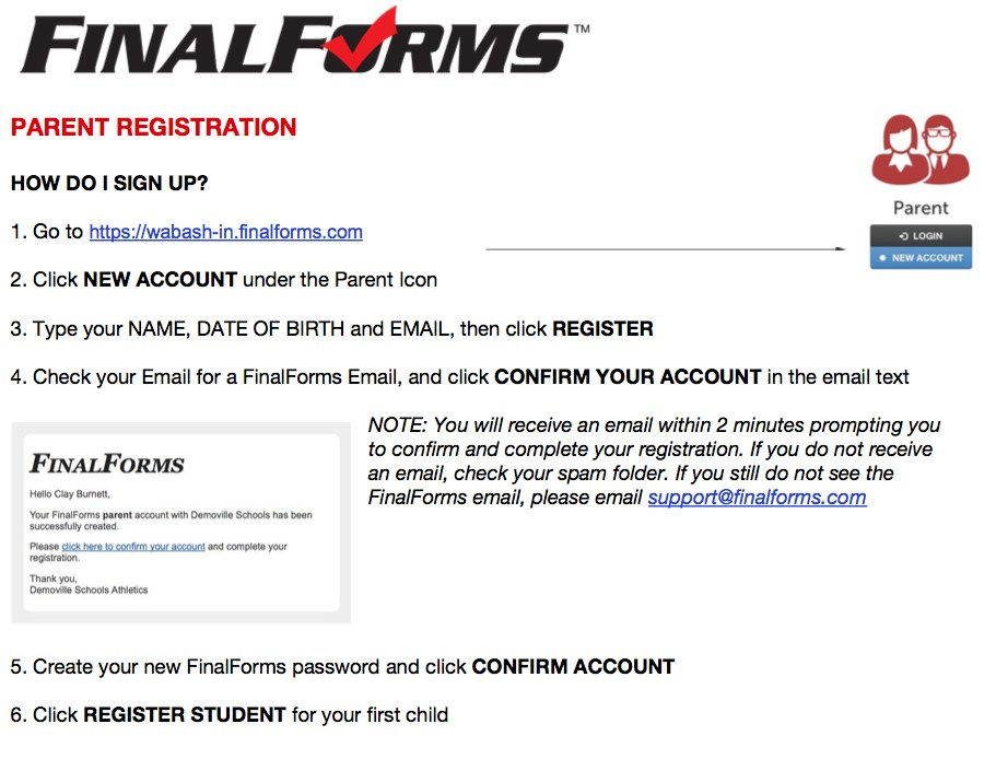 FinalForm Parent registration link