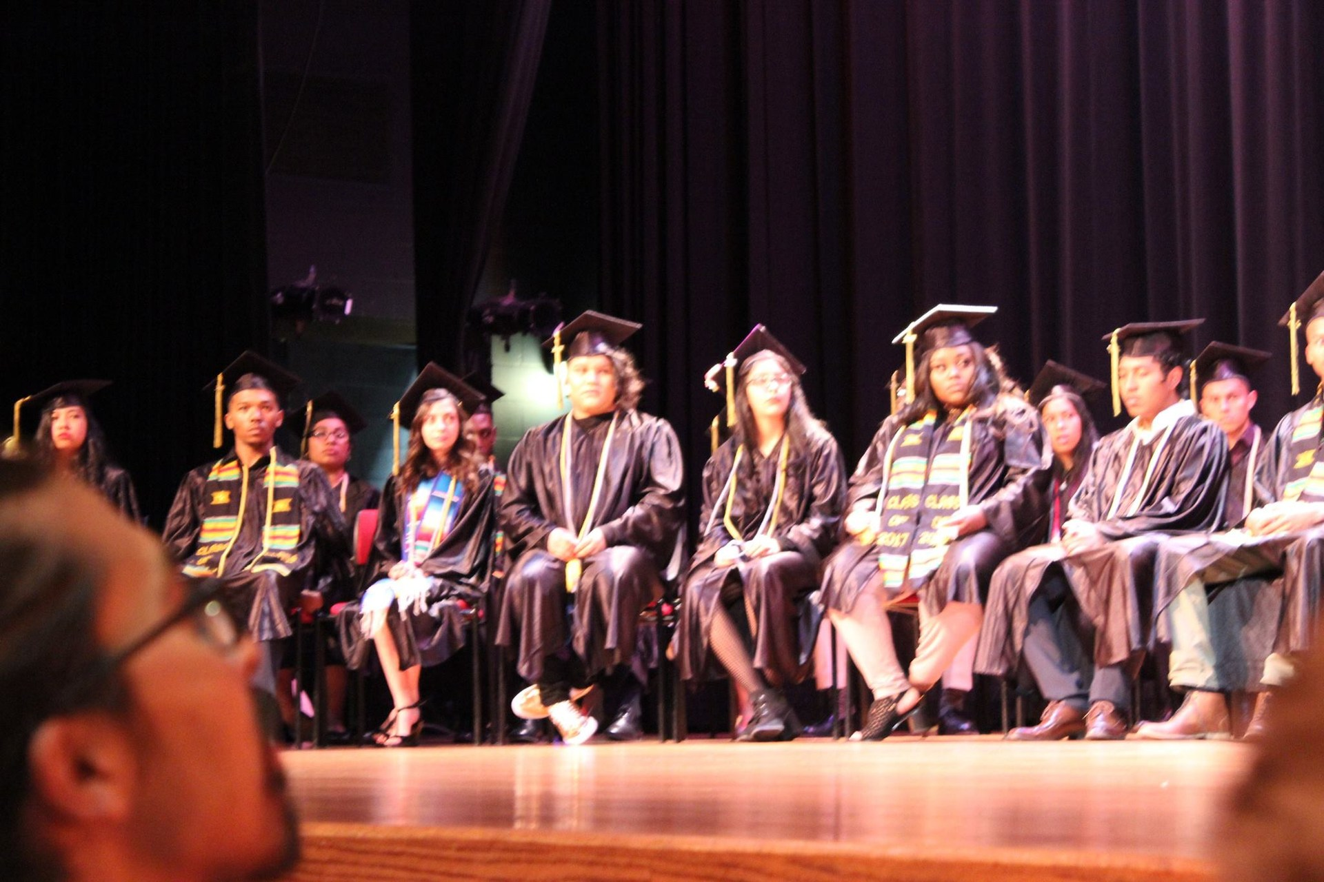 Graduating students on stage