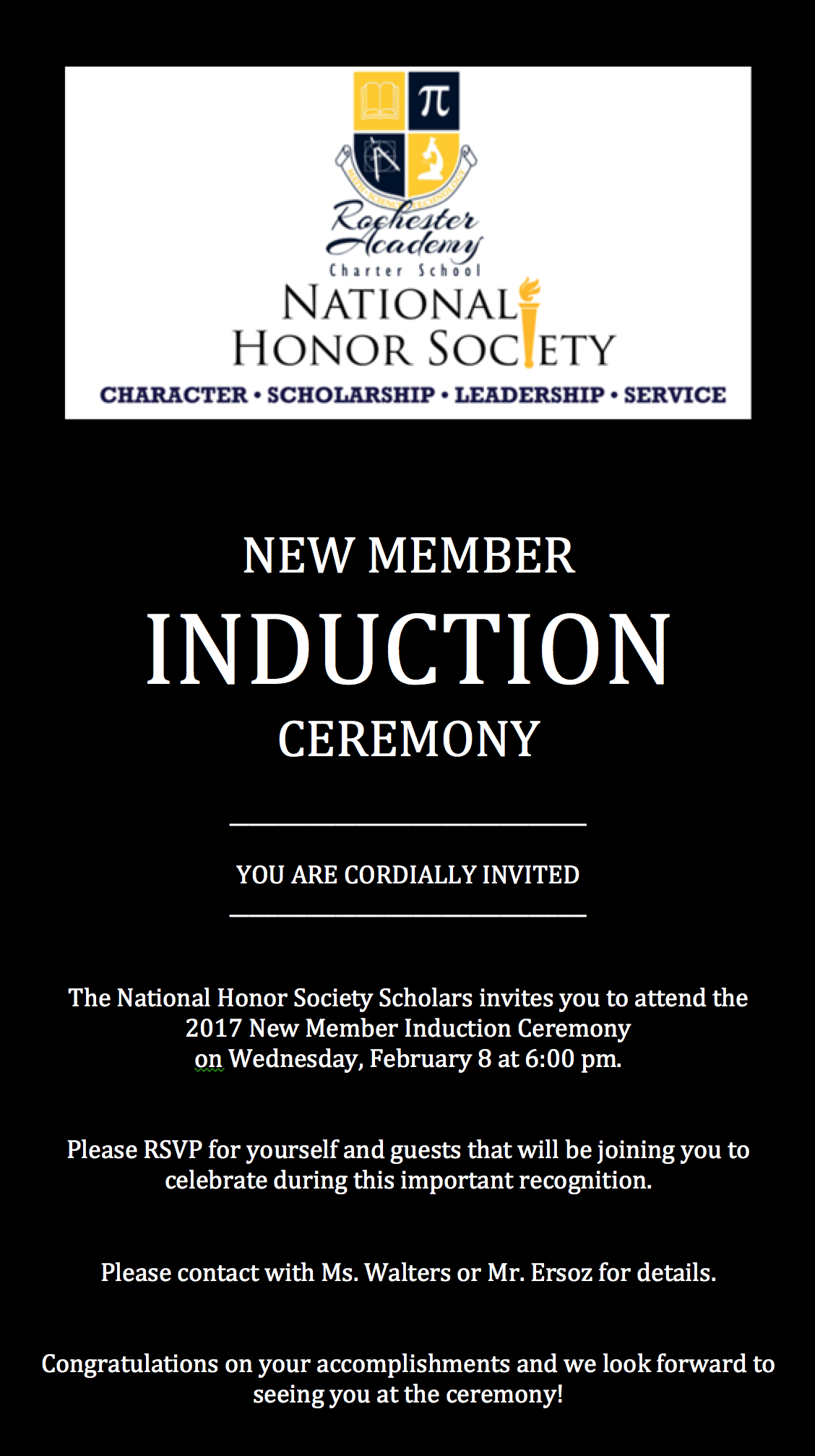 Induction Ceremony National Honor Society Rochester