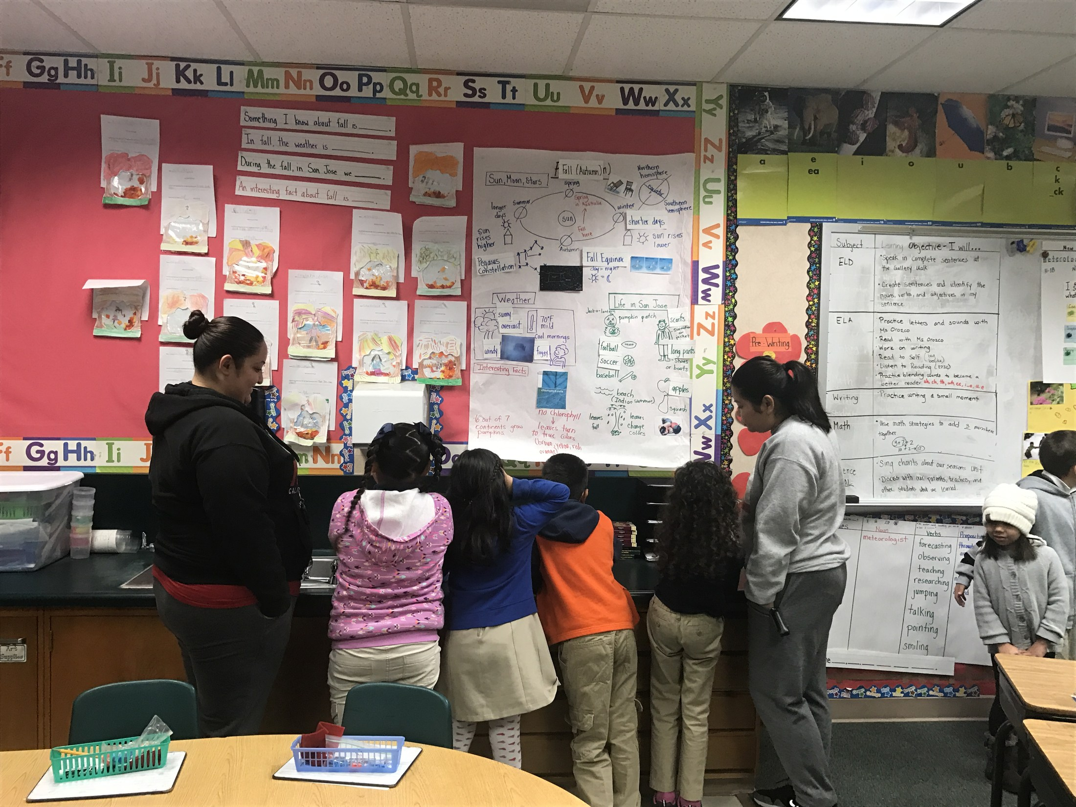 1st grade students in Ms. Orozco's class discuss with their parents what they learned about fall.