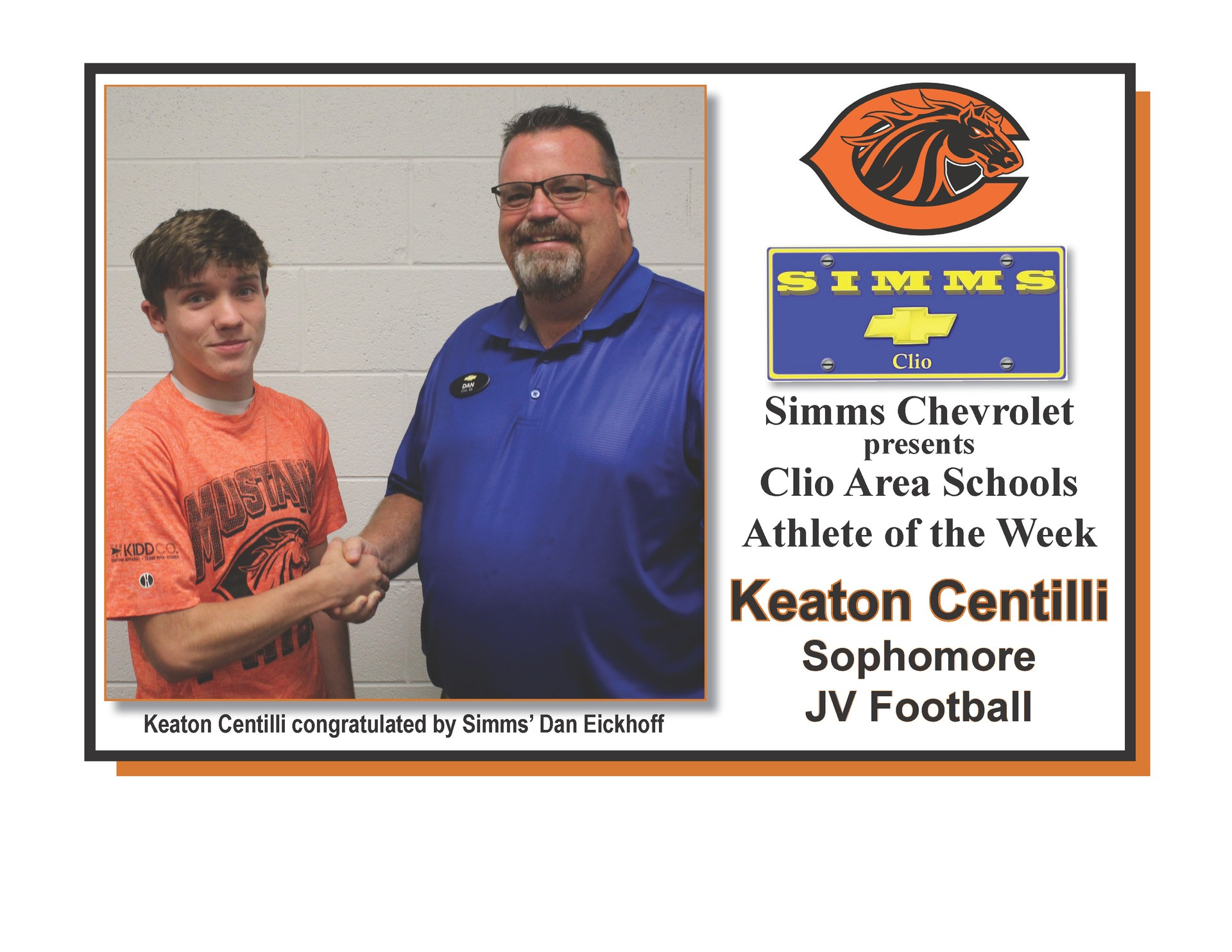 Photo of Keaton Centilli receiving Simms Chevrolet Athlete of the Week honors from Dan Eickoff